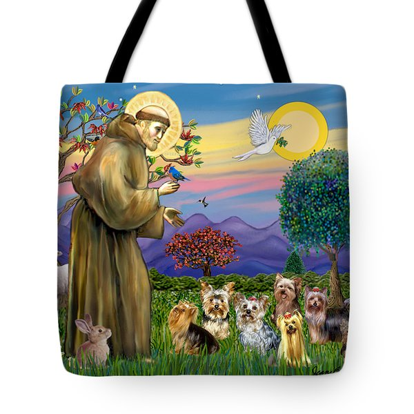 Saint Francis Blesses Seven Yorkies Tote Bag by Jean Fitzgerald
