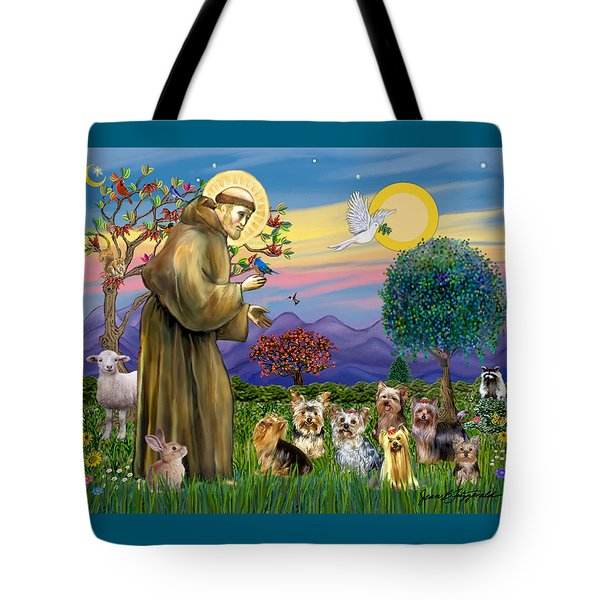 Saint Francis Blesses Seven Yorkies Tote Bag
