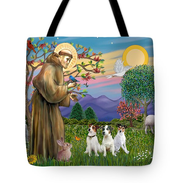 Saint Francis Blesses Three Jack Russell Terriers Tote Bag