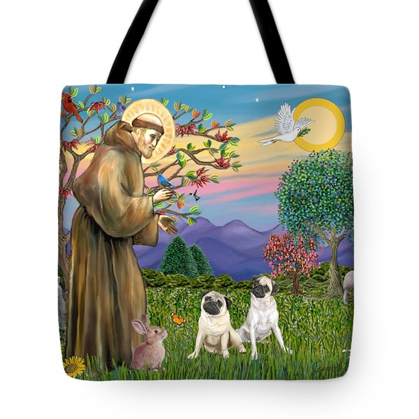Saint Francis Blesses Two Fawn Pugs Tote Bag by Jean Fitzgerald