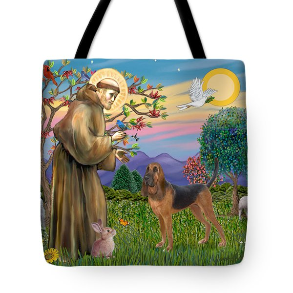 Saint Francis Blessing A Bloodhound Tote Bag by Jean Fitzgerald