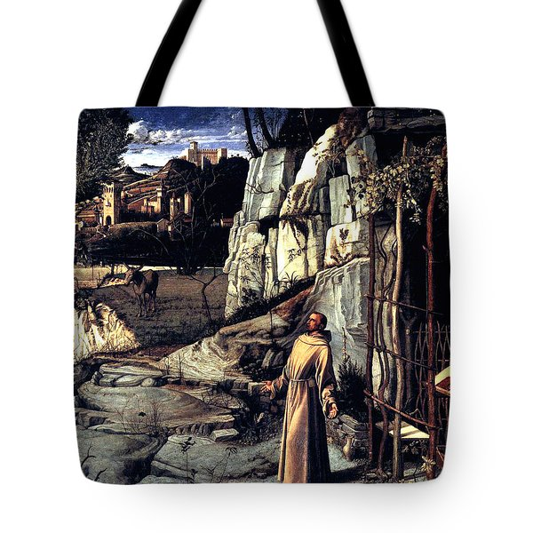 Tote Bag featuring the painting Saint Francis In Ecstasy 1485 Giovanni Bellini by Karon Melillo DeVega