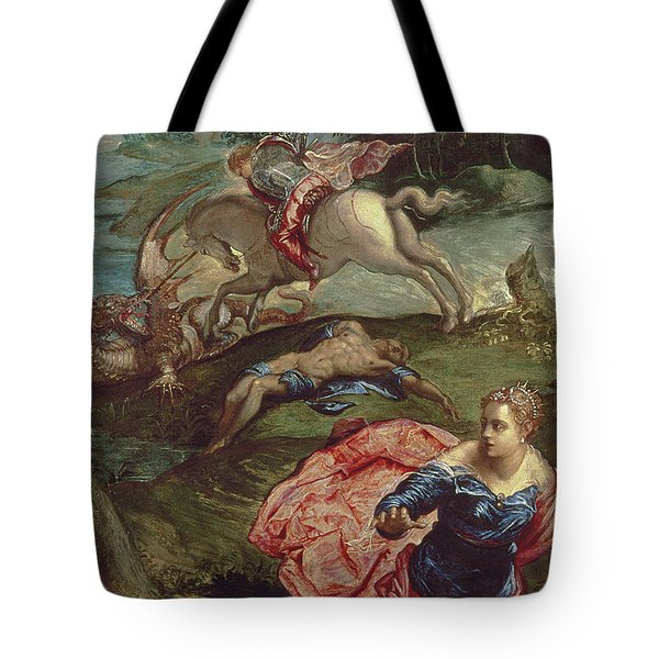 Saint George And The Dragon  Tote Bag by Jacopo Robusti Tintoretto