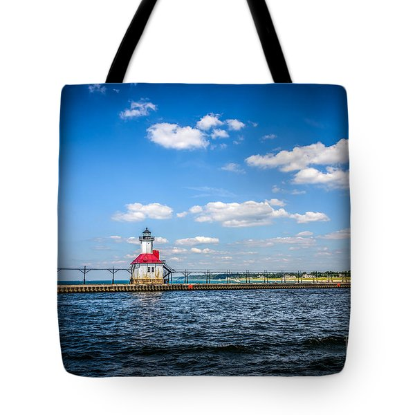 Saint Joseph Lighthouse And Pier Picture Tote Bag by Paul Velgos