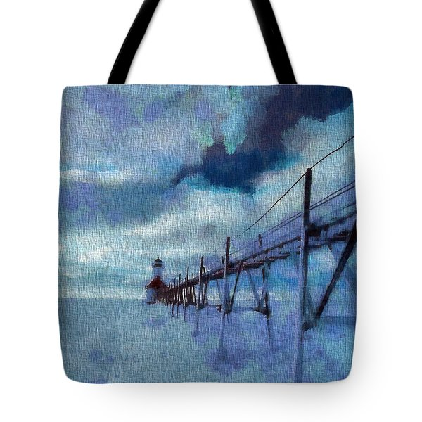 Saint Joseph Pier Lighthouse In Winter Tote Bag by Dan Sproul
