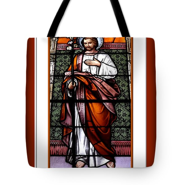 Saint Joseph  Stained Glass Window Tote Bag