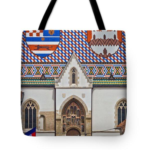 Saint Mark Church Facade Vertical View Tote Bag
