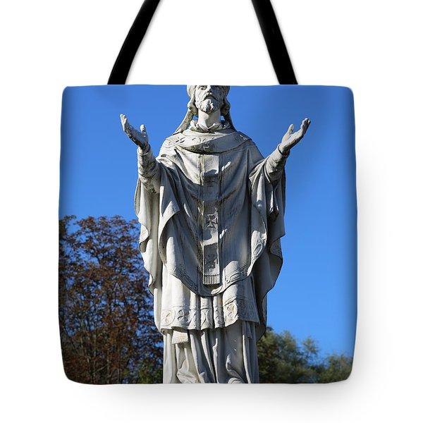 Saint Martin Statue At Lourdes Tote Bag