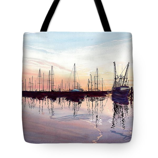 Saint Marys Marina   Shadows Light And Fire Tote Bag by Joel Deutsch