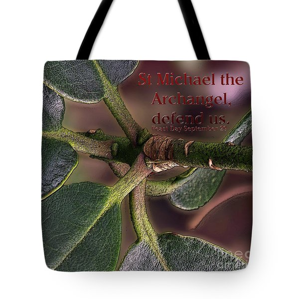 Tote Bag featuring the photograph Saint Michael The Archangel by Jean OKeeffe Macro Abundance Art