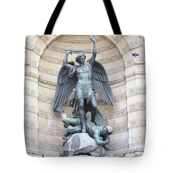 Saint Michael The Archangel In Paris Tote Bag