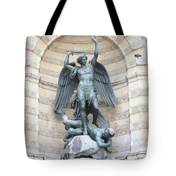 Saint Michael The Archangel In Paris Tote Bag