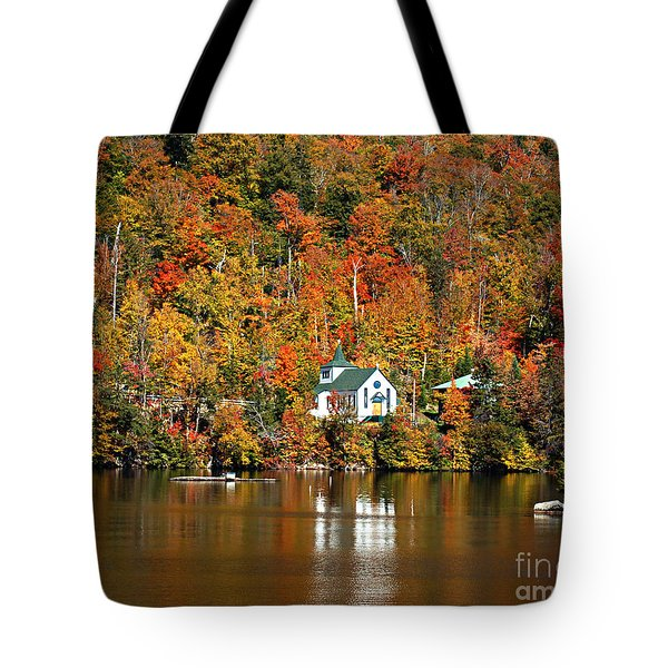 Saint Peters On The Lake Adirondacks New York Tote Bag by Diane E Berry
