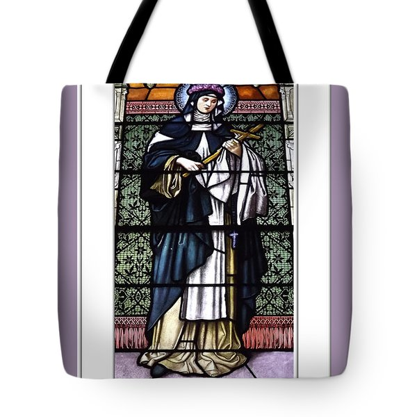 Saint Rose Of Lima Stained Glass Window Tote Bag