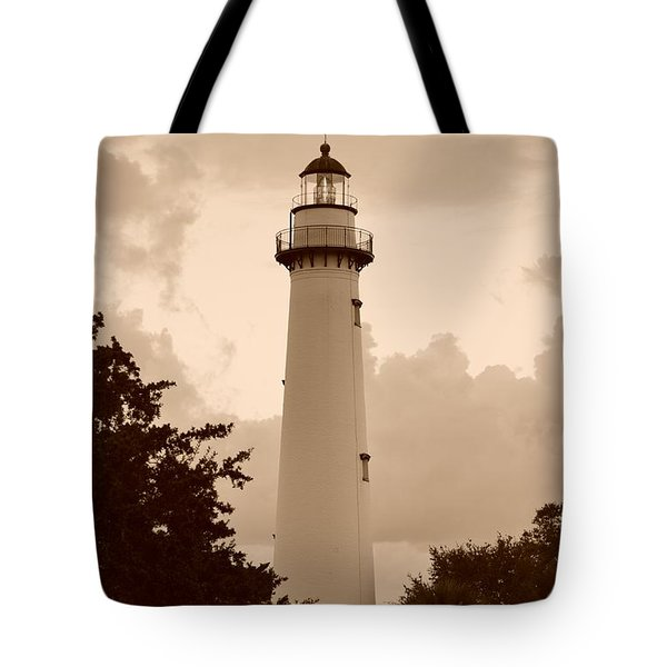 Saint Simons Lighthouse In Sepia Tote Bag
