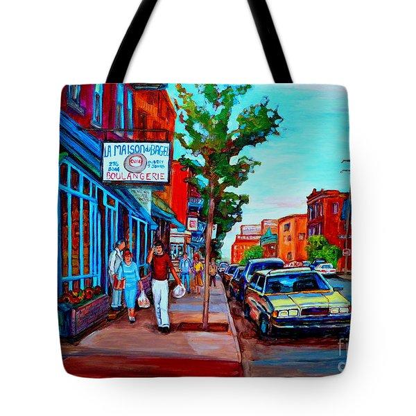 Saint Viateur Bagel Shop Tote Bag by Carole Spandau