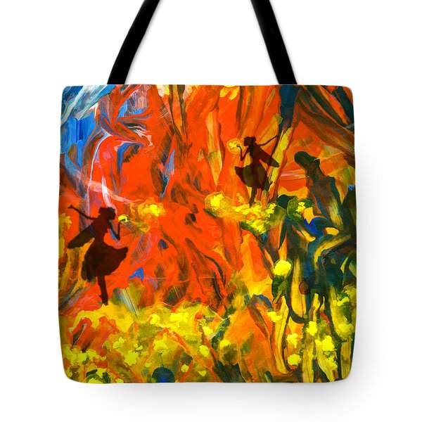 Tote Bag featuring the painting Salient Celebration by Ron Richard Baviello