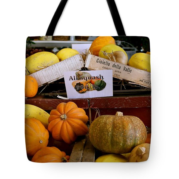 Tote Bag featuring the photograph San Joaquin Valley Squash Display by Michele Myers