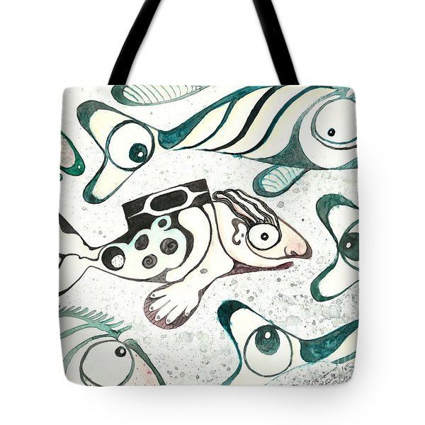 Salmon Boy The Swimmer Tote Bag by Melinda Dare Benfield