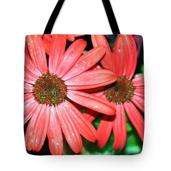 Salmon Daisy Tote Bag by Aimee L Maher Photography and Art Visit ALMGallerydotcom