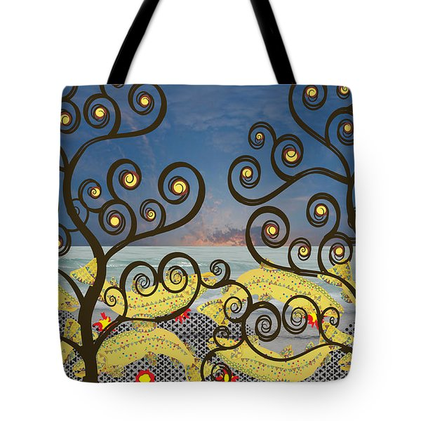 Tote Bag featuring the digital art Salmon Dance Blue by Kim Prowse