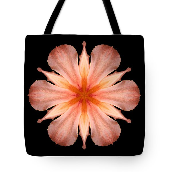 Salmon Daylily I Flower Mandala Tote Bag by David J Bookbinder