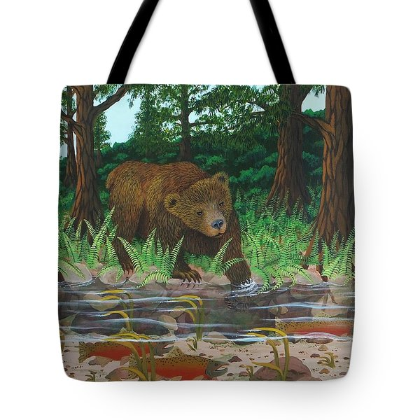 Salmon Fishing Tote Bag by Katherine Young-Beck