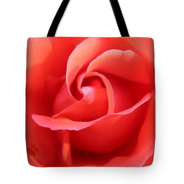 Tote Bag featuring the photograph Salmon Floral Rose Abstract by Judy Palkimas