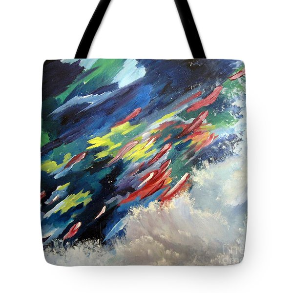 Tote Bag featuring the painting Salmon Run by Carol Sweetwood