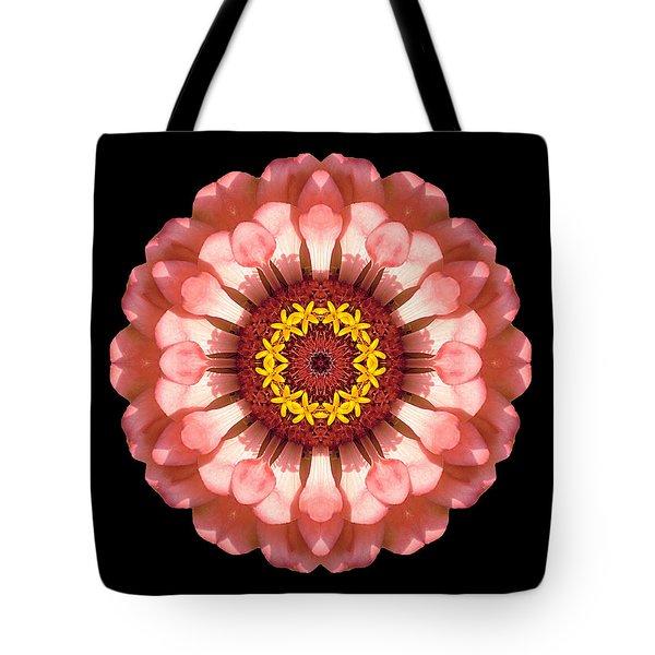 Salmon Zinnia Elegans Iv Flower Mandala Tote Bag by David J Bookbinder