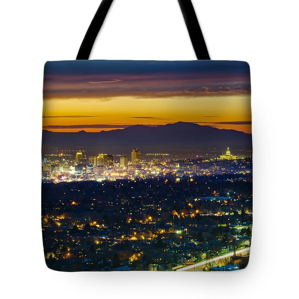 Salt Lake City At Dusk Tote Bag