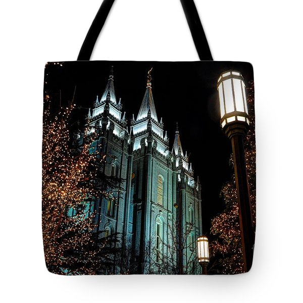 Salt Lake City Mormon Temple Christmas Lights Tote Bag
