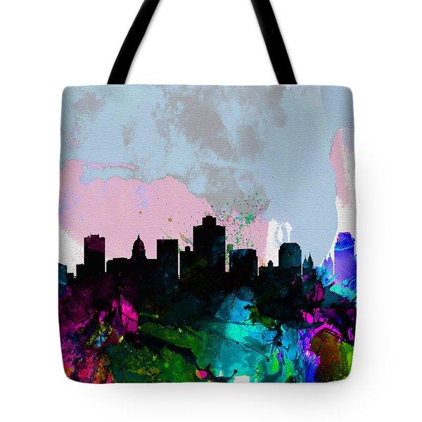 Salt Lake City Watercolor Skyline Tote Bag