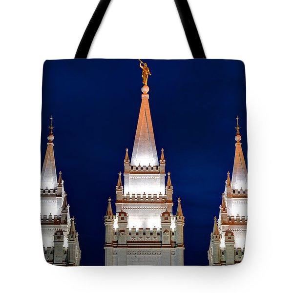 Salt Lake Lds Mormon Temple At Night Tote Bag by Gary Whitton