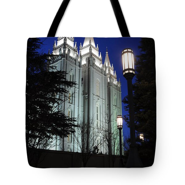 Salt Lake Mormon Temple At Night Tote Bag by Gary Whitton