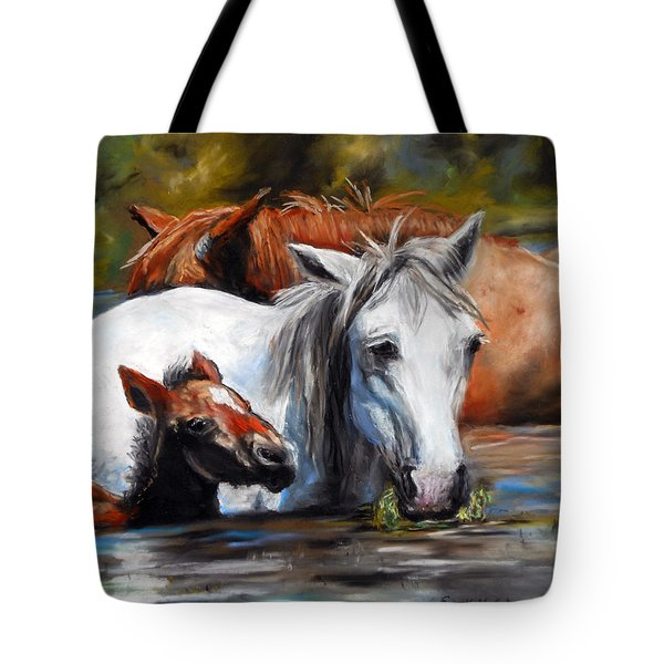 Tote Bag featuring the pastel Salt River Foal by Karen Kennedy Chatham