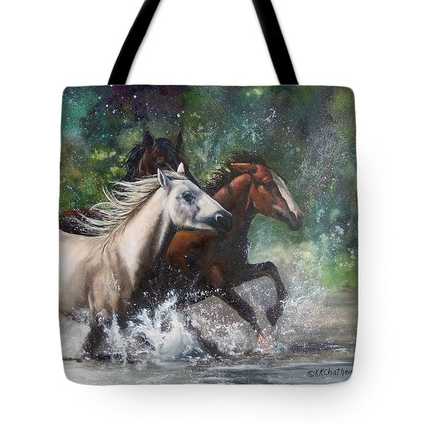 Tote Bag featuring the painting Salt River Horseplay by Karen Kennedy Chatham