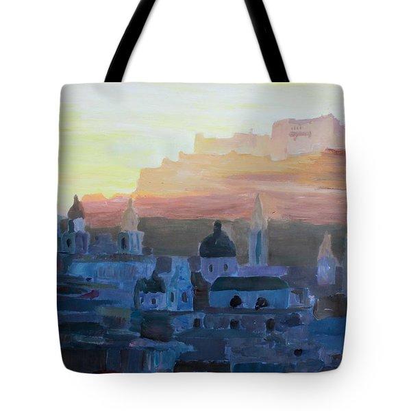 Salzburg At Dusk Tote Bag by M Bleichner