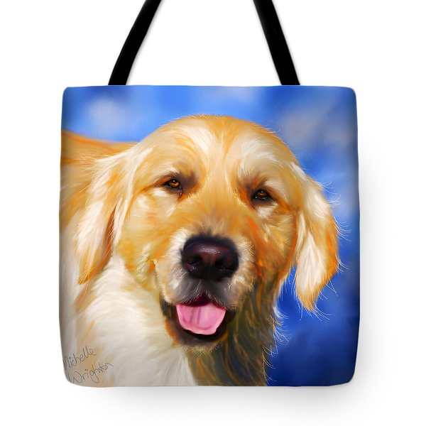 Happy Golden Retriever Painting Tote Bag by Michelle Wrighton