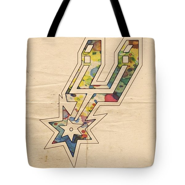 San Antonio Spurs Logo Art Tote Bag by Florian Rodarte