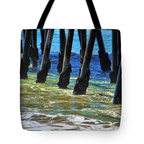 San Clemente Pier Tote Bag by Mariola Bitner