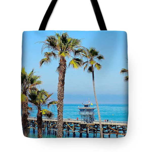 San Clemente Pier Tote Bag by Suzanne Oesterling