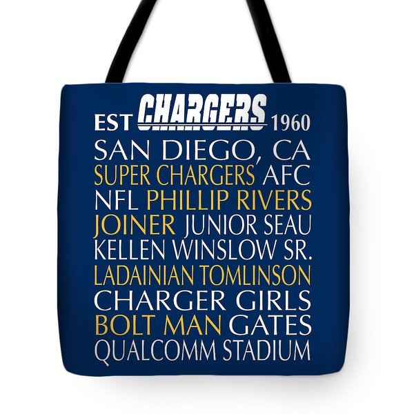 Tote Bag featuring the digital art San Diego Chargers by Jaime Friedman