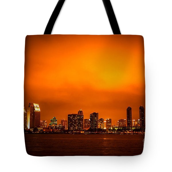 San Diego Cityscape At Night Tote Bag by Paul Velgos