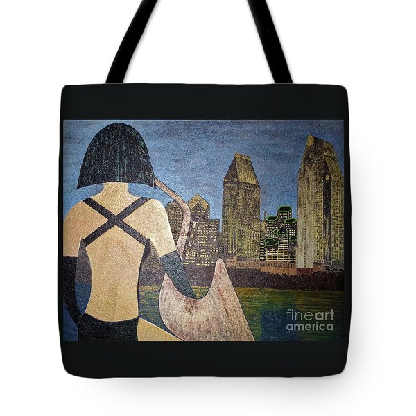 Tote Bag featuring the painting San Diego Night by Jasna Gopic
