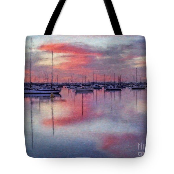 Tote Bag featuring the digital art San Diego - Sailboats At Sunrise by Lianne Schneider
