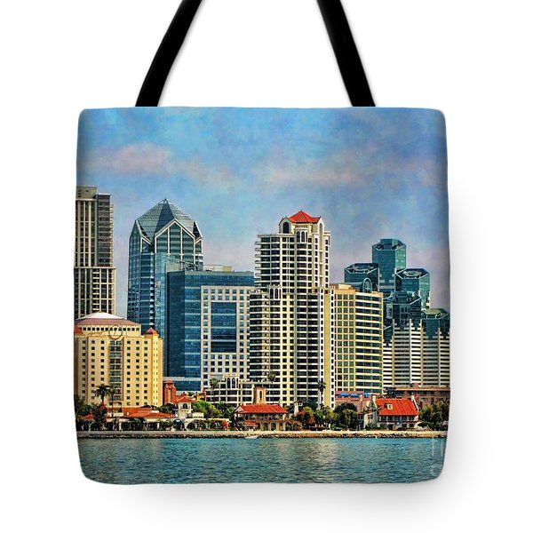 Tote Bag featuring the photograph San Diego Skyline by Peggy Hughes