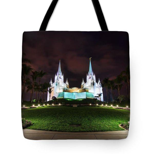 San Diego Temple Tote Bag by Eddie Yerkish