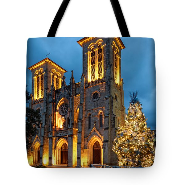 San Fernando Cathedral And Christmas Tree Main Plaza - San Antonio Texas Tote Bag