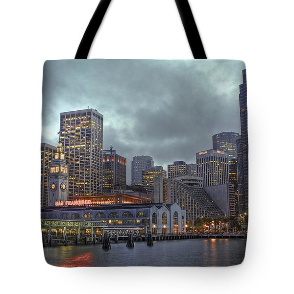 San Francisco Port All Lit Up Tote Bag